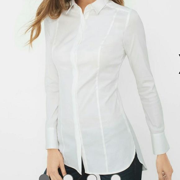 340f088148892b White House Black Market Tops   Whbm Long White Poplin Shirt   Poshmark